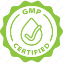 green, label, gmp certified icon