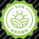 green, label, sun grown, sunny, sun, grown, farm food icon