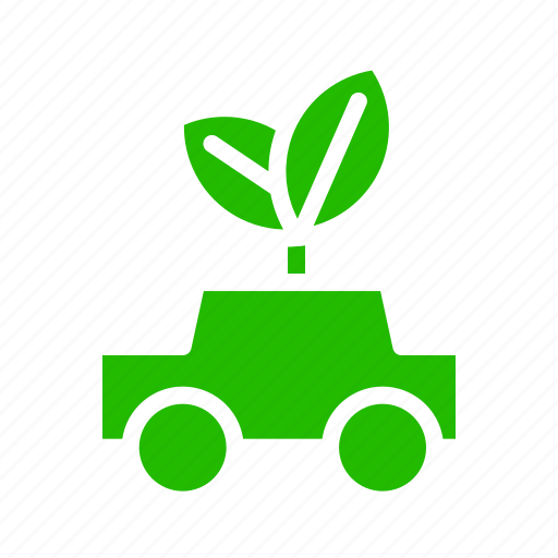 car, electric, leaves icon