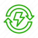 electric, energy, flash, power, recycle icon