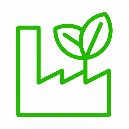 Eco, factory, green, heavy, industry icon