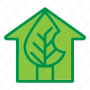 ecology, green, house, leaf icon