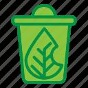 ecology, leaf, recycle, trash icon