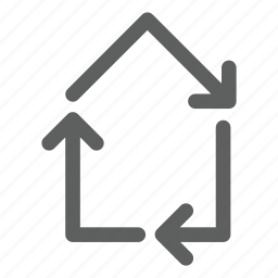 arrow, eco, house, real estate, recycle icon
