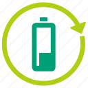 battery, charging, eco, ecology, power, recharge, reuse icon