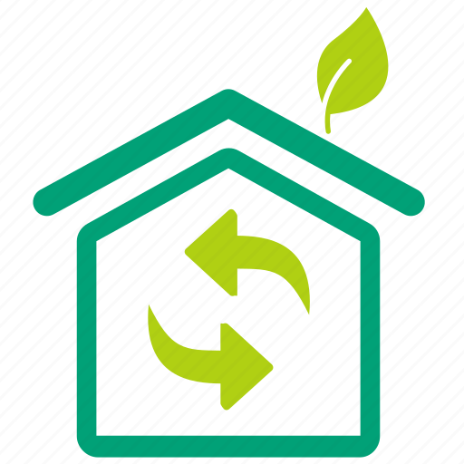 Air flow, building, eco, eco home, greenhouse, house ... Green Home Icon Png