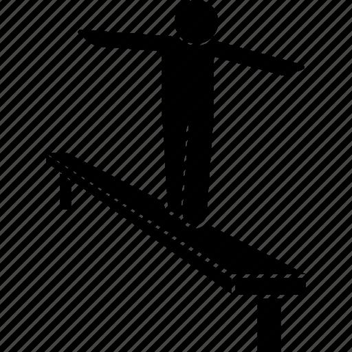 balance, balancing, beam, game, outdoor icon