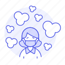 air, carbon, dioxide, ecology, female, gas, harmful, mask, polluted, pollution icon