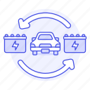 batteries, battery, car, change, ecology, electric, recharge, transport, vehicles icon
