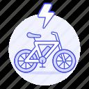 bicycle, bike, byke, e, ecology, electric, flash, sign, thunderbolt, transport, vehicles