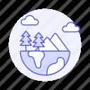earth, ecology, ecosystem, forest, globe, half, mini, mountain, planet, range, tree, world