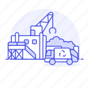 building, center, crane, ecology, garbage, hauler, plant, recycle, recycling, station, trash icon