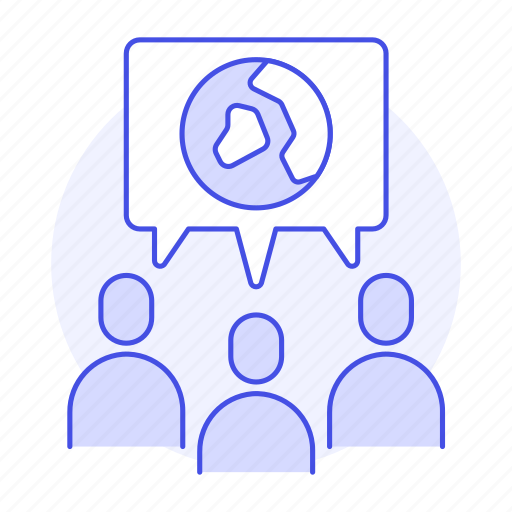 associate, bubble, conference, ecology, global, meeting, nature, seminar, talk, world icon