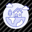 earth, ecology, ecosystem, globe, half, home, house, living, mini, place, planet, tree, world