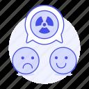 associate, disagree, ecology, emoji, happy, nuclear, radiation, sad, speech, symbol, talk, waste