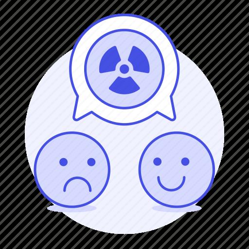 associate, disagree, ecology, emoji, happy, nuclear, radiation, sad, speech, symbol, talk, waste icon