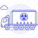 danger, ecology, harmful, hazard, nuclear, radiation, radioactive, symbol, transport, truck, waste icon