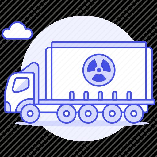 danger, ecology, harmful, hazard, nuclear, radiation, radioactive, symbol, transport, truck, waste icon