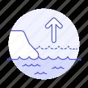 arrow, change, cliff, climate, coast, ecology, effect, impact, increment, level, rise, sea, up
