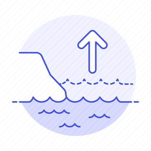 arrow, change, cliff, climate, coast, ecology, effect, impact, increment, level, rise, sea, up icon
