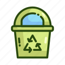 ecology, nature, recycling, trash bin icon
