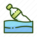 bottle, ecology, pollution, sea, trash, water