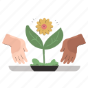 agriculture, ecology, hand, gestures, planting, future, plant icon