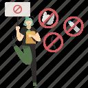 ecology, plastic, limitation, stop, warning, prohibited, woman icon