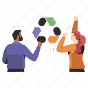 ecology, reuse, recycle, ecological, man, woman, arrows icon