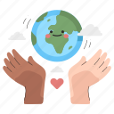 ecology, hand, gestures, taking, care, planet, heart icon