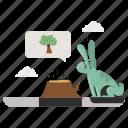nature, animals, ecology, forest, destruction, cut, rabbit icon