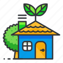 ecology, green, house, tree