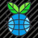 ecology, globe, plant icon