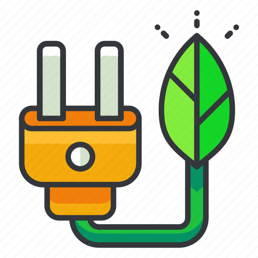 ecology, electricity, green icon