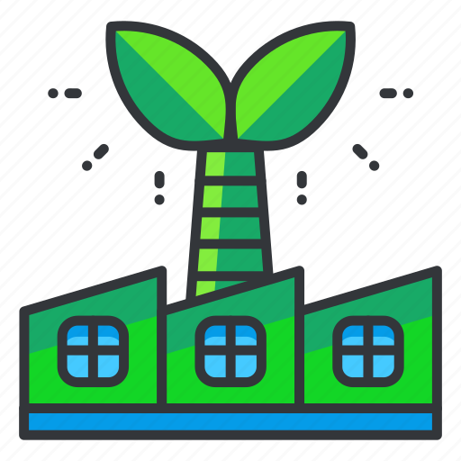 ecology, factory, green icon