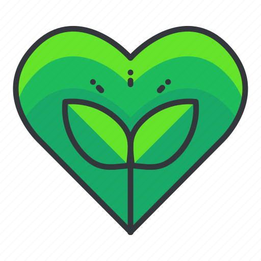 earth\, ecology, heart, love, plant icon