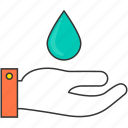 drop, green, hand, protection, safety, water icon