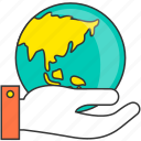 earth, environment, global, globe, hand, protection, world icon