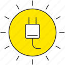 eco, electric plug, electricity, power, solar energy, sun icon
