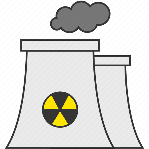 nuclear, nuclear energy, nuclear plant, pollution, smoke icon