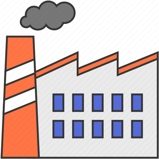building, factory, industry, pollution, smoke icon
