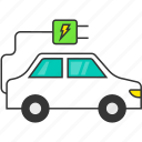 auto, eco, electric car, electric plug, energy, transport, vehicle icon