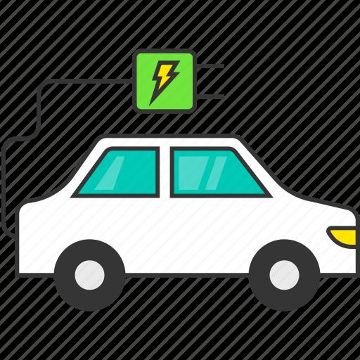 auto, eco, electric car, electric plug, energy, transport, vehicle icon