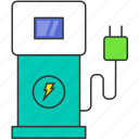 electric car, electric station, electricity, energy, power, supercharger icon