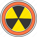 atom, danger, energy, nuclear, radioactive, warning icon