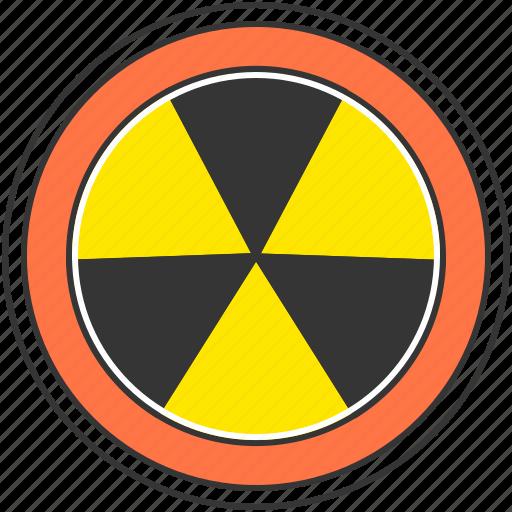 atom, danger, energy, nuclear, radioactive, warning icon