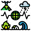 disaster, earthquake, fire, hurricane, storm icon