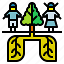 sphere, gas, oxygen, tree, air icon