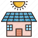 eco, ecology, environment, house, nature, solar icon