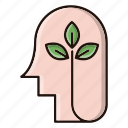 head, ecology, nature, environment, green, think icon